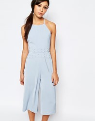 Neon Rose Jumpsuit With Eyelet Detail At Waist Pale Blue