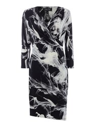 Episode Jersey Wrap Print Dress In Shadow Print Black White