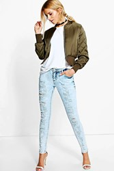 Boohoo Cloudy Wash Ripped Skinny Jeans Blue