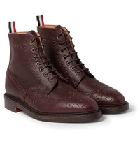 Thom Browne Pebble Grain Leather Brogue Boots