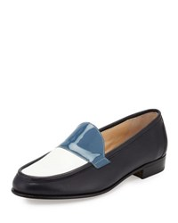 Gravati Flat Tricolor Leather Loafer Navy Bianco