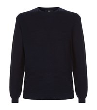 Boss Contrast Panel Knit Jumper Male Navy