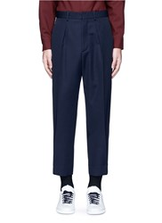 Marni Pleated Wool Gabardine Pants Blue
