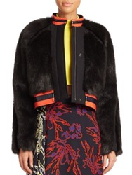 Tanya Taylor Fran Faux Fur Jacket Black