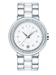 Movado Cerena Diamond Stainless Steel And Ceramic Bracelet Watch Silver White