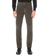 Canali Regular Fit Corduroy Jeans Olive