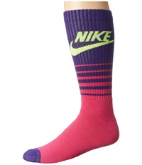 Nike Nsw Classic Striped Hbr Sock Fireberry Court Purple Volt Men's Crew Cut Socks Shoes Pink