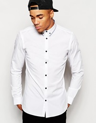 New Look Contrast Trim Collar Shirt In Long Sleeve White