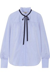 Sea Cotton Poplin Blouse Light Blue