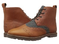 Toms Brogue Boot Brown Leather Grey Wool Men's Lace Up Boots Tan