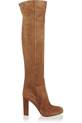 Gianvito Rossi Suede Over The Knee Boots Tan