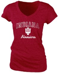 Blue 84 Women's Indiana Hoosiers Arched Marble T Shirt Red