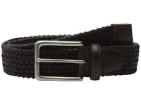 Torino Leather Co. Italian Woven Cotton And Leather Elastic Black Men's Belts