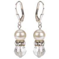 Passionate About Vintage Crystal And Pearl Earrings In Sterling Silver