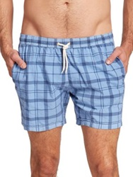 Barbour John Plaid Swim Trunks Red Check Olive Check Blue Check