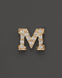 Zoe Chicco 14K Yellow Gold Pave Single Initial Stud Earring .04.06 Ct. T.W. M