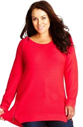 Plus Size Women's City Chic Zip Detail Sweater Neon Pink