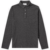 Officine Generale Long Sleeve Button Down Polo Grey