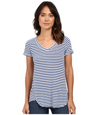 Mod O Doc Linen Knit Stripe Short Sleeve V Neck Tee Sailor Women's T Shirt Navy
