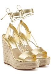 Michael Kors Collection Metallic Leather Espadrille Wedge Sandals Gold