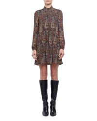 Saint Laurent Paisley Long Sleeve Babydoll Mini Dress Brown