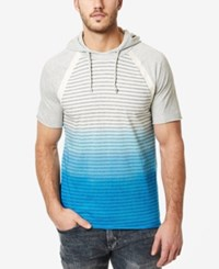 Buffalo David Bitton Men's Nanielot Ombre Stripe Short Sleeve Hoodie T Shirt Horizon