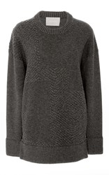 Jason Wu Cashmere Plisse Pullover Sweater Dark Grey