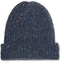 Inis Meain Ribbed Melange Merino Wool And Cashmere Blend Beanie Blue