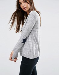 Asos Jumper With Star Elbow Patch Grey Nep