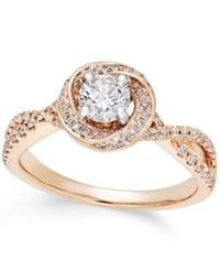 Macy's Diamond Twist Halo Engagement Ring 7 8 Ct. T.W. In 14K Rose Gold