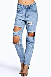 Boohoo Light Blue Extreme Ripped Boyfriend Jeans Blue