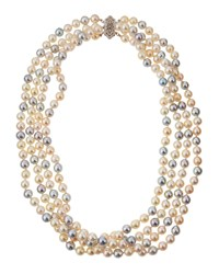Belpearl 14K Multicolor Akoya Pearl Multi Strand Necklace 6.5Mm