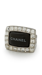 Wgaca Vintage Chanel Crystal Nameplate Ring Silver Clear