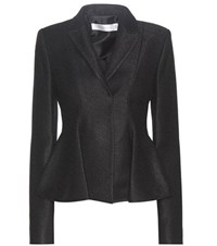 Victoria Beckham Virgin Wool Blend Peplum Blazer Black