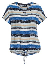 Marc O'polo Short Sleeved Blouse In Pure Viscose Blue