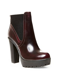 Steve Madden Amandaa Platform Leather Ankle Booties Burgundy