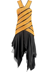 Balmain Asymmetric Silk Satin And Ribbed Leather Dress Yellow