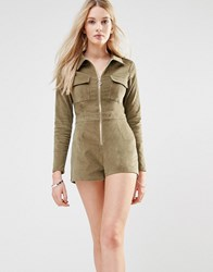 Love And Other Things Corduroy Utility Playsuit Green