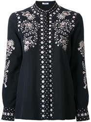 Vilshenko Collarless Embroidered Button Up Shirt Black