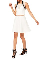 Miss Selfridge Mesh Inset Scuba Dress Cream