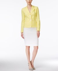 Le Suit Two Button Colorblocked Skirt Suit Yellow White