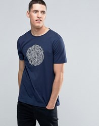 Pretty Green T Shirt With Linear Logo Print In Slim Fit Navy Navy