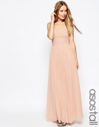 Asos Tall Wedding Ruched Panel Maxi Dress Nude Pink