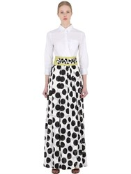 Sara Roka Polka Dot Cotton Blend Shirt Dress
