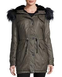 Laundry By Shelli Segal Waxy Cotton Faux Fur Trim Anorak Jacket Smoke