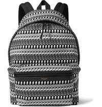 Saint Laurent Leather Trimmed Skeleton Print Canvas Backpack Black