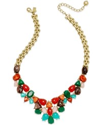 Kate Spade New York Gold Tone Multicolor Stone Necklace