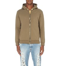 Palm Angels Oversized Zip Cotton Jersey Hoody Military Green