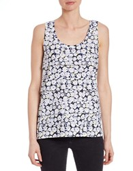 Lord And Taylor Rain Blooms Tiered Front Tank White