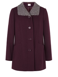 Eastex Plum Check Collar Coat Purple